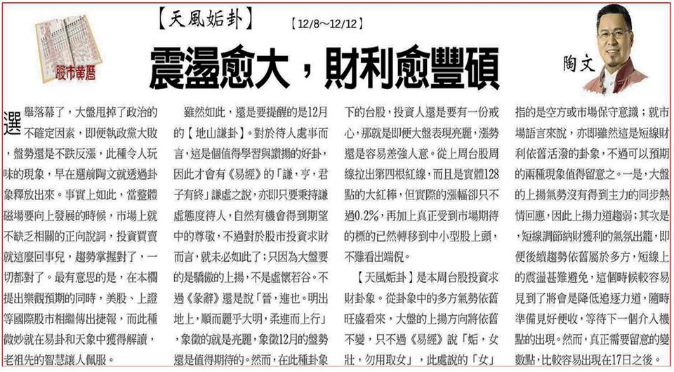 工商時報【12/8~12/12一週股市黃曆】  陶文